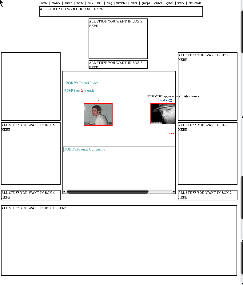 10 box comments 3 Myspace div layout
