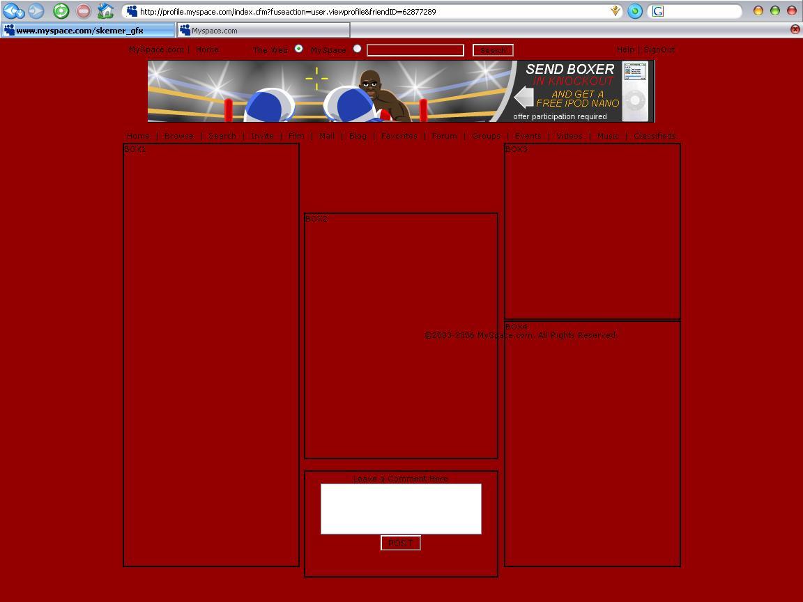 5 box 9 Myspace div layout