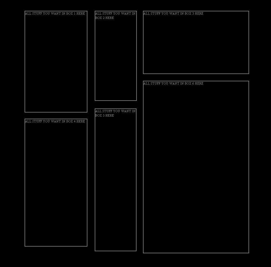 6 box 6 Myspace div layout