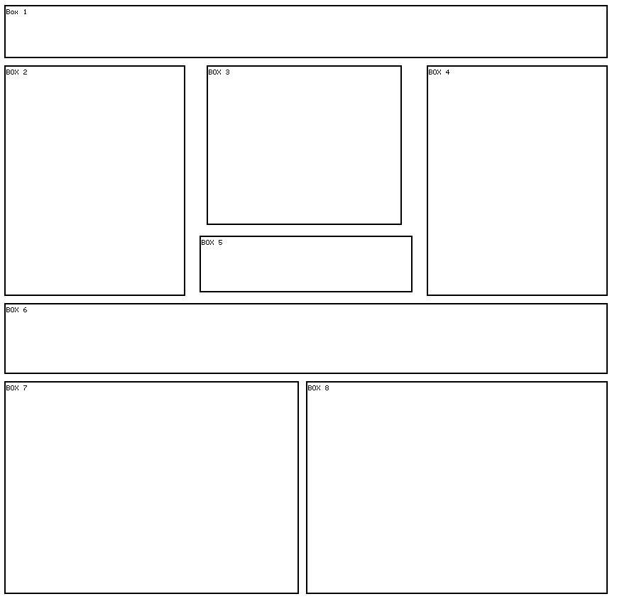 8 box 8 Myspace div layout