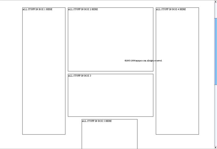 5 box comments 2 Myspace div layout