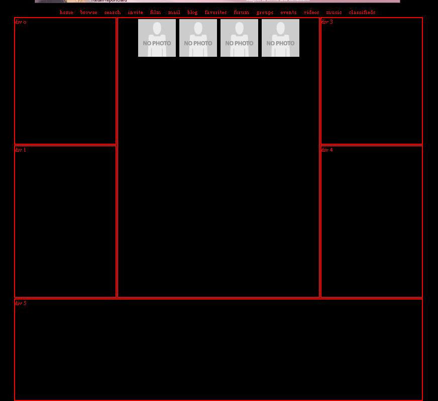 5 box css pop ups Myspace div layout