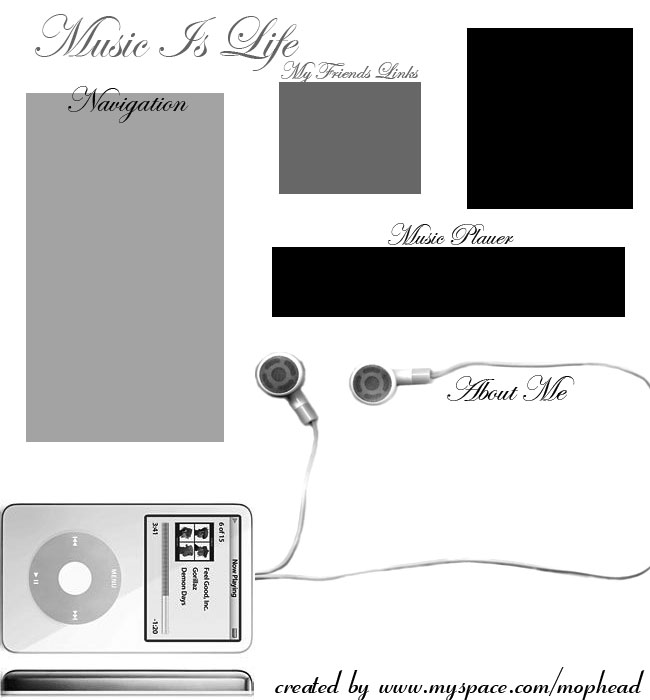 Music is Life Myspace div layout