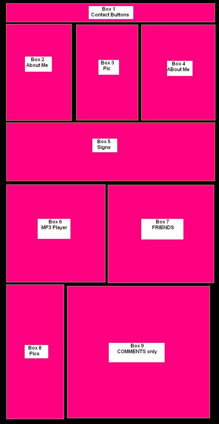 Big Pink Myspace div layout