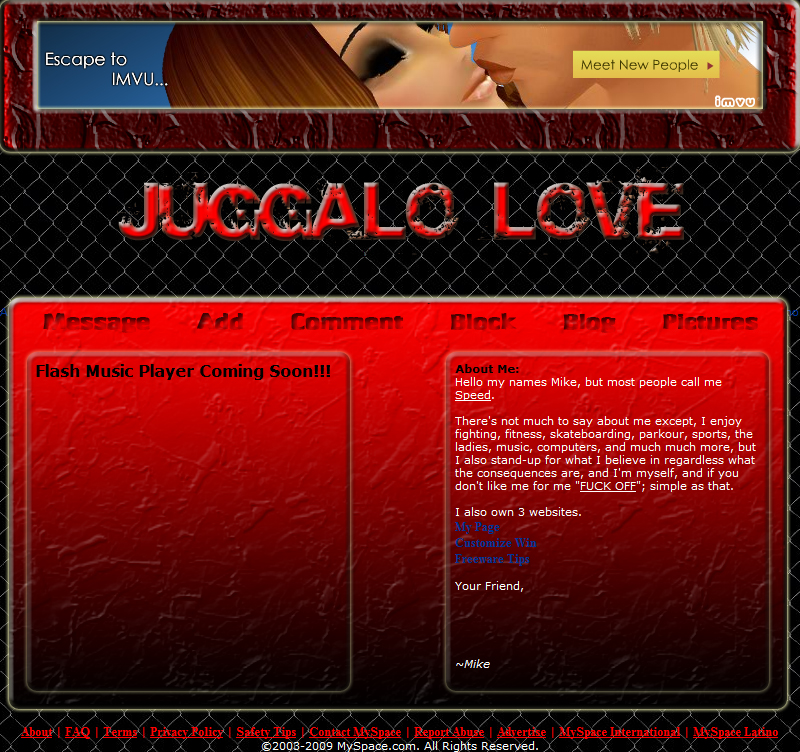 Juggalo Love Myspace div layout