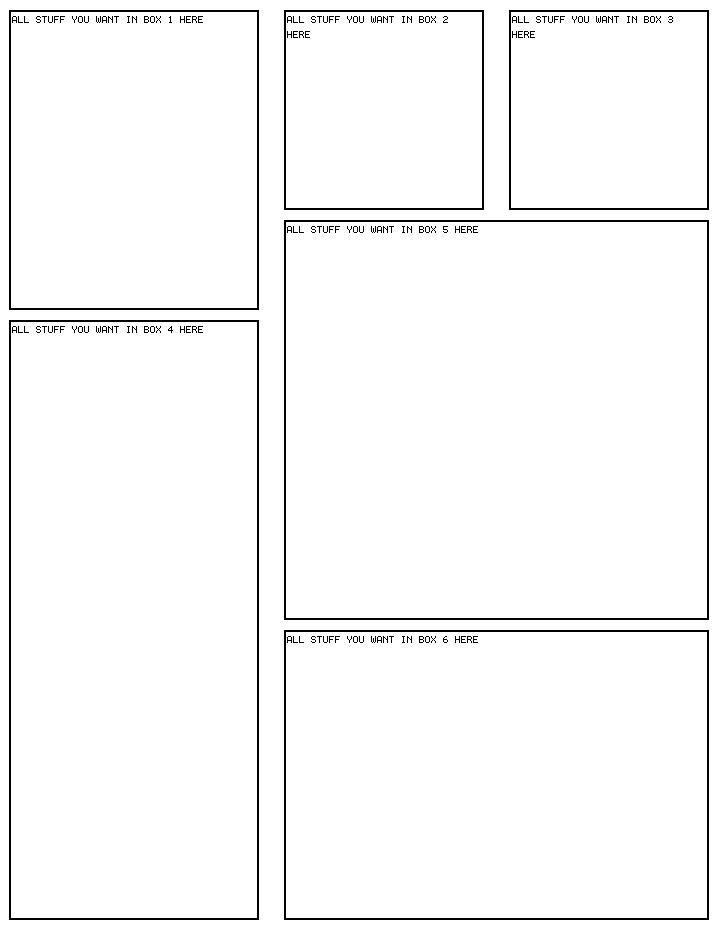 6 box 13 Myspace div layout
