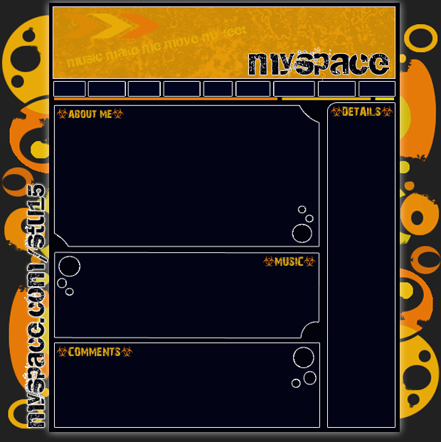 Orange black funky Myspace div layout