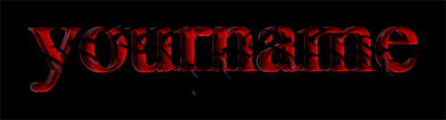 red symbiotic text effect result